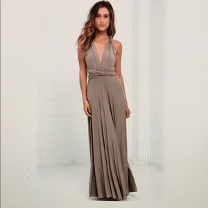 Lulus Tricks of the Trade Taupe Maxi Dress